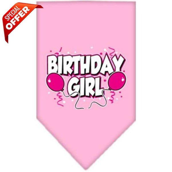 Mirage Pet Products Birthday Girl Screen Print Bandana, Large, Assorted Colors-Dog-Mirage Pet Products-Light Pink-PetPhenom