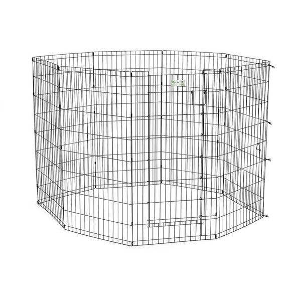 "Midwest Life Stages Pet Exercise Pen with Door 8 Panels Black 24"" x 24""-Dog-Midwest-PetPhenom"