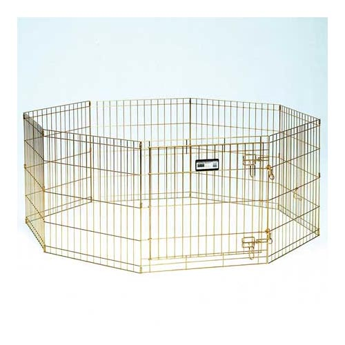 "Midwest Gold Zinc Pet Exercise Pen 8 panels Gold 24"" x 24""-Dog-Midwest-PetPhenom"