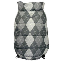 Hip Doggie Inc. Silver Argyle Reversible Puffer Vest by Hip Doggie -Small-Dog-Hip Doggie Inc.-PetPhenom