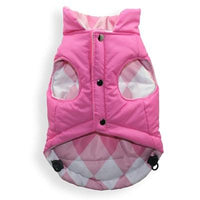 Hip Doggie Inc. Pink Argyle Reversible Puffer Vest by Hip Doggie -Large-Dog-Hip Doggie Inc.-PetPhenom