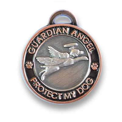 Luxepets Antique Silver/Copper Guardian Angel Dog Charm-Dog-Luxepets-PetPhenom