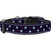 Mirage Pet Products Anchors Nylon Ribbon Collar, Blue-Dog-Mirage Pet Products-Medium-PetPhenom