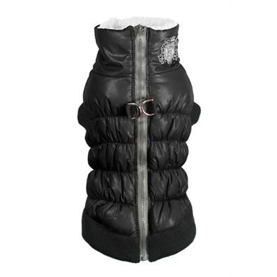 Hip Doggie Inc. Black Crown Scrunchy Puffer Vest by Hip Doggie -S-Dog-Hip Doggie Inc.-PetPhenom