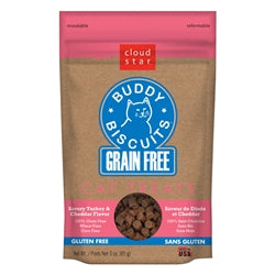 Cloud Star Grain-Free Buddy Biscuits with Savory Turkey & Cheddar Cat Treats, 3-oz. bag-Cat-Cloud Star-PetPhenom