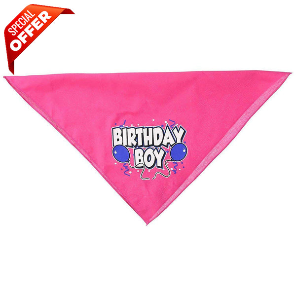 Mirage Pet Products Birthday Boy Screen Print Bandana, Large, Assorted Colors-Dog-Mirage Pet Products-Bright Pink-PetPhenom