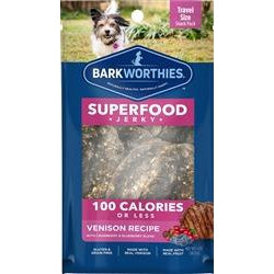 Barkworthies Venison Jerky Recipe with Blueberry & Cranberry Blend 100 Calorie Pack Sold As Whole Case Of: 16-Dog-Barkworthies-PetPhenom
