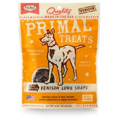 Primal Venison Lung Snaps Dry Roasted Dog Treats, 2-oz. bag-Dog-Primal-PetPhenom