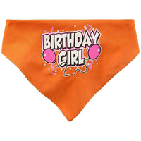 Mirage Pet Products Birthday Girl Screen Print Bandana, Large, Assorted Colors-Dog-Mirage Pet Products-Orange-PetPhenom