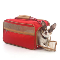 bark n bag® Bark-n-Bag Nylon Classic Pet Carrier - Red Nylon/Tan Trim -Small-Dog-bark n bag®-PetPhenom