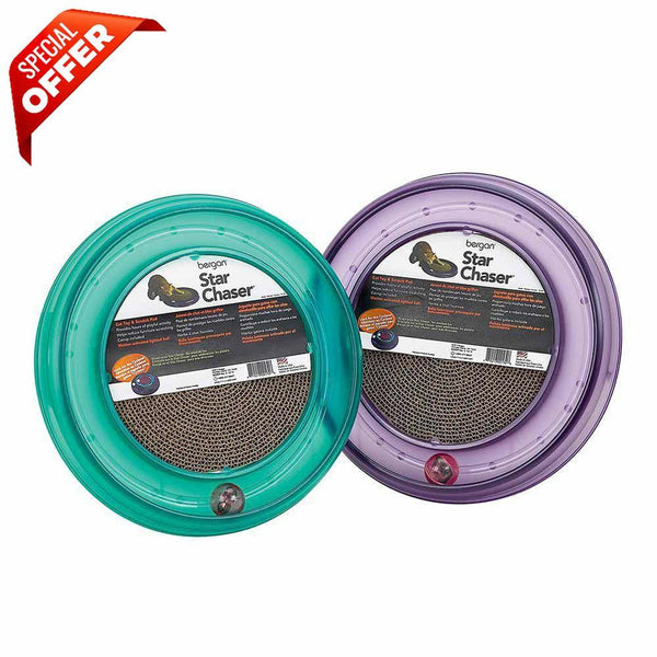 "Bergan Starchaser Turboscratcher Cat Toy Assorted 16"" x 16"" x 1.88""-Cat-Bergan-PetPhenom"