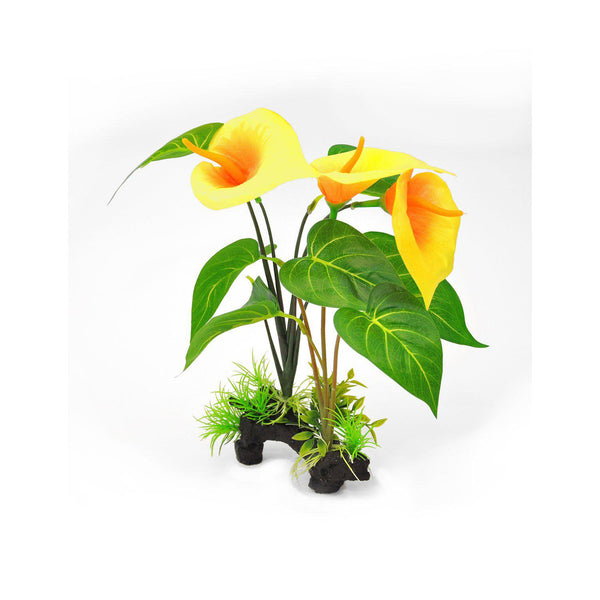 "BioBubble Decorative Yellow Lilly Yellow 6"" x 3"" x 12""-Small Pet-BioBubble-PetPhenom"