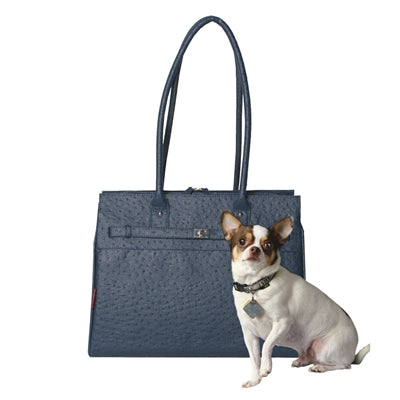 bark n bag® Embossed Ostrich Monaco Tote in Wedgwood-Dog-bark n bag®-PetPhenom
