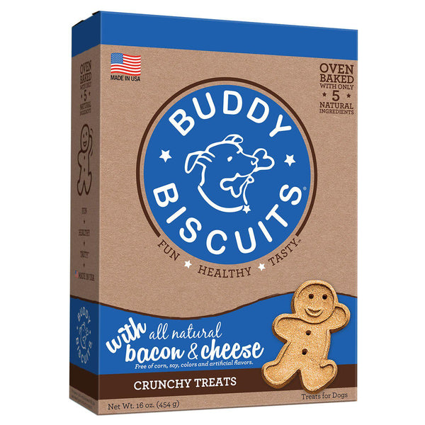 Buddy Biscuits Original Oven Baked Crunchy Treats Bacon and Cheese 16 ounces-Dog-Buddy Biscuits-PetPhenom
