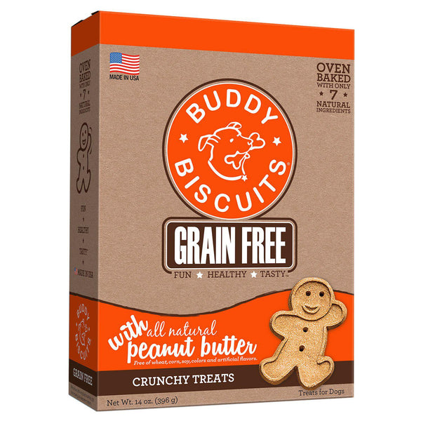 Buddy Biscuits Grain Free Oven Baked Crunchy Dog Treats Peanut Butter 14 ounces-Dog-Buddy Biscuits-PetPhenom