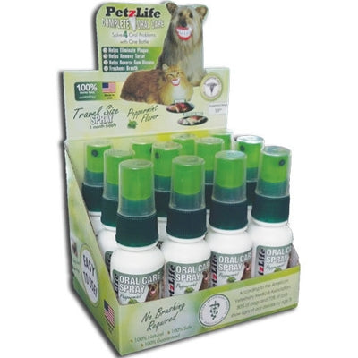 PetzLife PetzLife Oral Care DISPLAY Travel SPRAY - 6 pcs, 3 pcs Peppermint Gel, 3 pcs Salmon Gel-Dog-PetzLife-PetPhenom