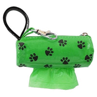 Doggie Walk Bags Mini Designer Duffel - Green w/Black Paws w/1 Roll-Dog-Doggie Walk Bags-PetPhenom