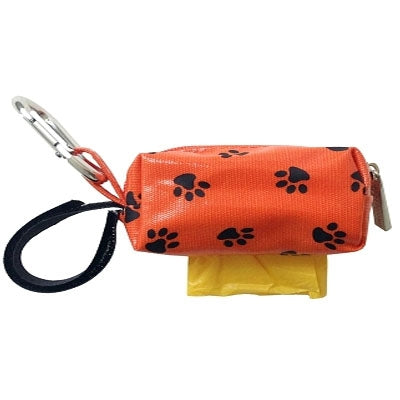 Doggie Walk Bags Mini Designer Duffel - Orange w/Black Paws w/1 Roll-Dog-Doggie Walk Bags-PetPhenom