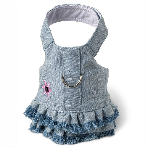 Doggles Dog Harness Dress with Jean Fringe-Dog-Doggles-Extra Small-PetPhenom
