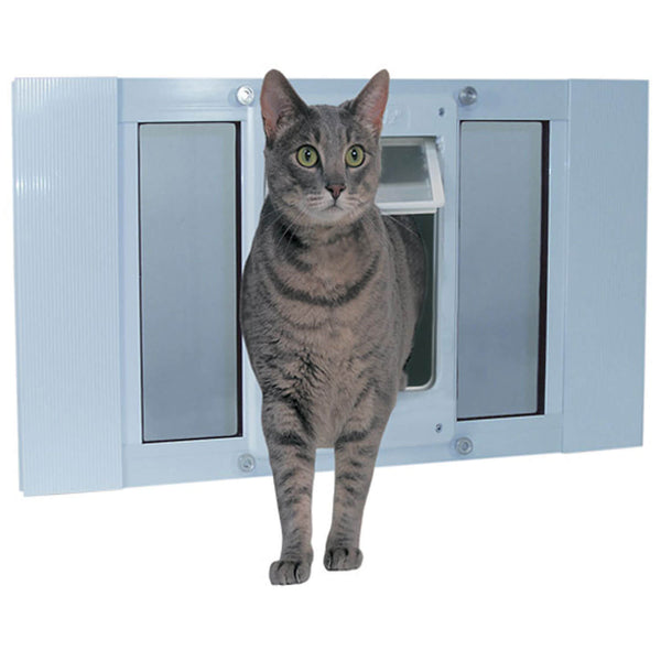 "Ideal Pet Products Aluminum Sash ChubbyKat Flap Pet Door Medium White 1.25"" x 10.75"" x 23""-Cat-Ideal Pet Products-PetPhenom"
