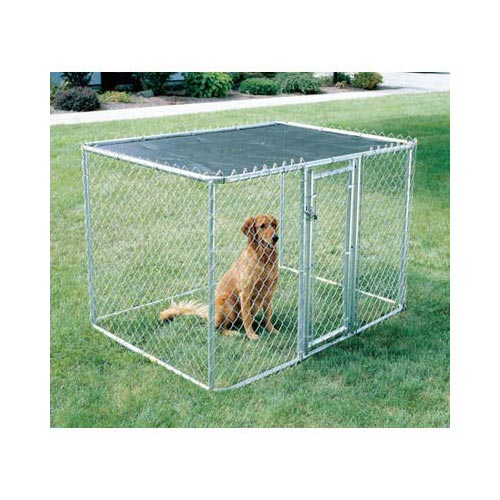 "Midwest Chain Link Portable Dog Kennel Silver 72"" x 48"" x 48""-Dog-Midwest-PetPhenom"