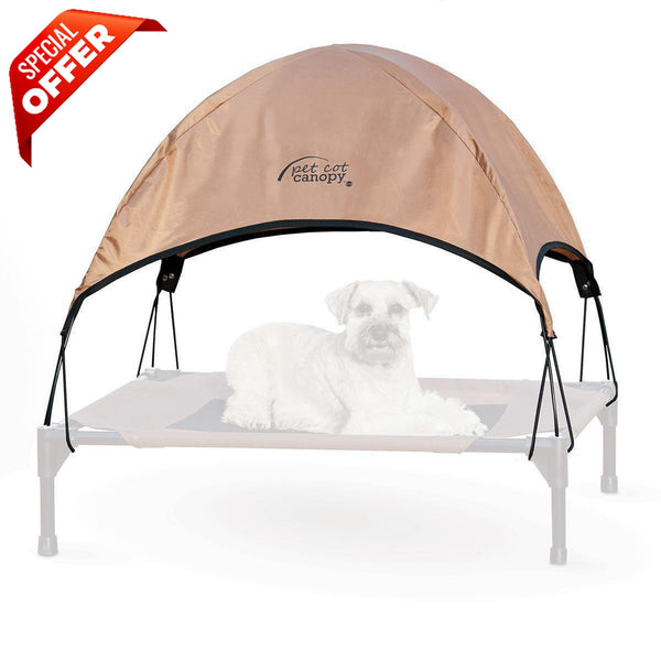 "K&H Pet Products Pet Cot Canopy Medium Tan 25"" x 32"" x 23""-Dog-K&H Pet Products-PetPhenom"