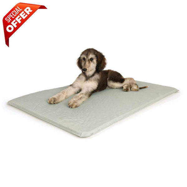 "K&H Pet Products Cool Bed III Thermoregulating Pet Bed Medium Gray 22"" x 32"" x 0.5""-Dog-K&H Pet Products-PetPhenom"