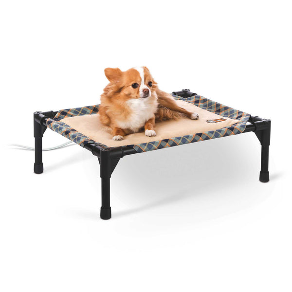 "K&H Pet Products Thermo-Pet Cot Small Tan / Plaid 17"" x 22"" x 7""-Dog-K&H Pet Products-PetPhenom"