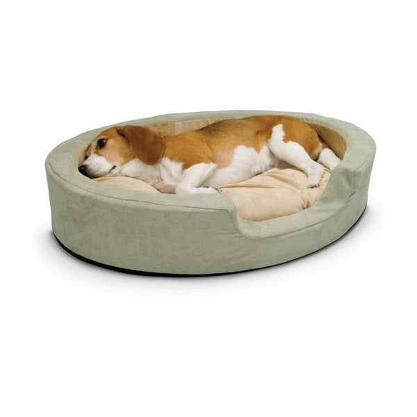 "K&H Pet Products Thermo Snuggly Sleeper Oval Pet Bed Medium Sage 26"" x 20"" x 5""-Dog-K&H Pet Products-PetPhenom"