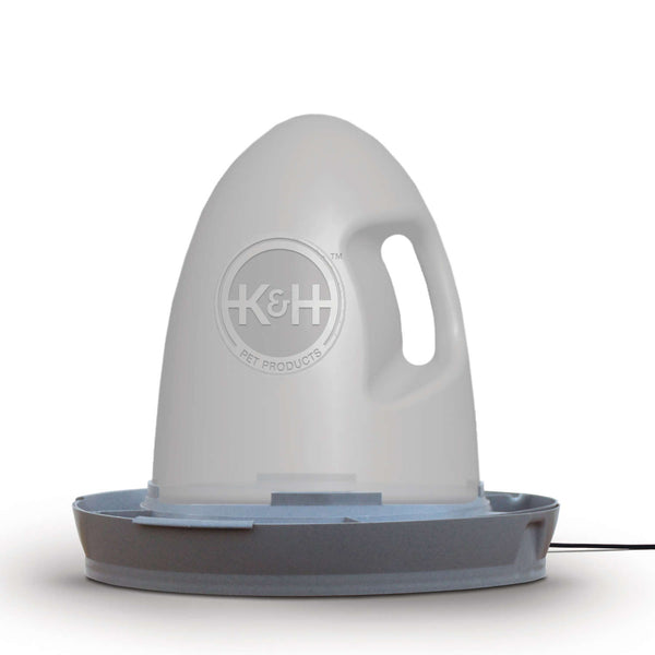 "K&H Pet Products Poultry Waterer Heated 2.5 gallon Gray 16"" x 16"" x 15""-Small Pet-K&H Pet Products-PetPhenom"