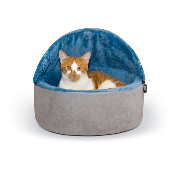 "K&H Pet Products Self-Warming Kitty Bed Hooded Small Blue/Gray 16"" x 16"" x 12.5""-Cat-K&H Pet Products-PetPhenom"