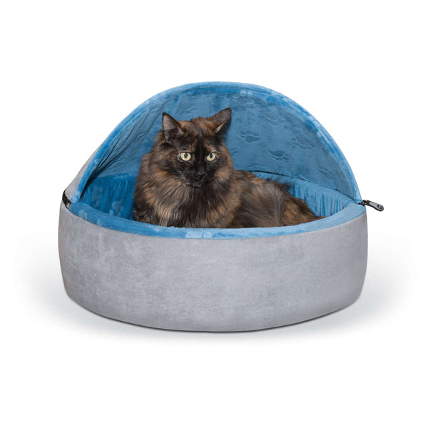 "K&H Pet Products Self-Warming Kitty Bed Hooded Large Blue/Gray 20"" x 20"" x 12.5""-Cat-K&H Pet Products-PetPhenom"