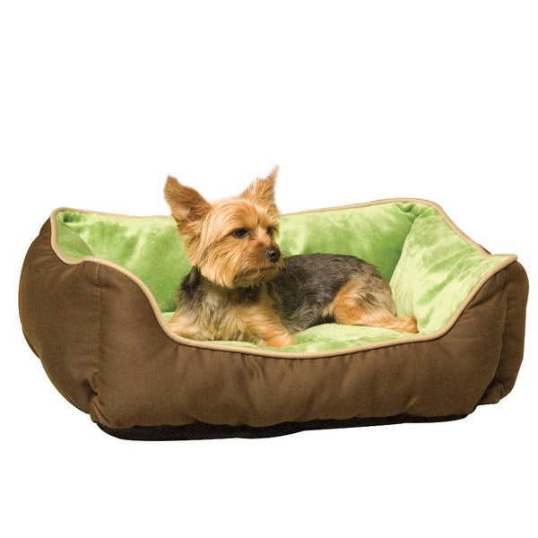 "K&H Pet Products Lounge Sleeper Self-Warming Pet Bed Mocha / Green 16"" x 20"" x 6""-Dog-K&H Pet Products-PetPhenom"