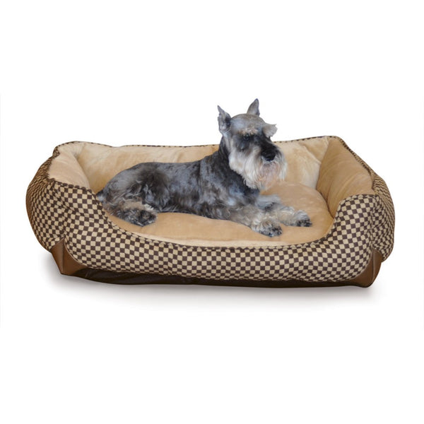 "K&H Pet Products Self Warming Lounge Sleeper Square Pet Bed Medium Brown 24"" x 30"" x 9""-Dog-K&H Pet Products-PetPhenom"