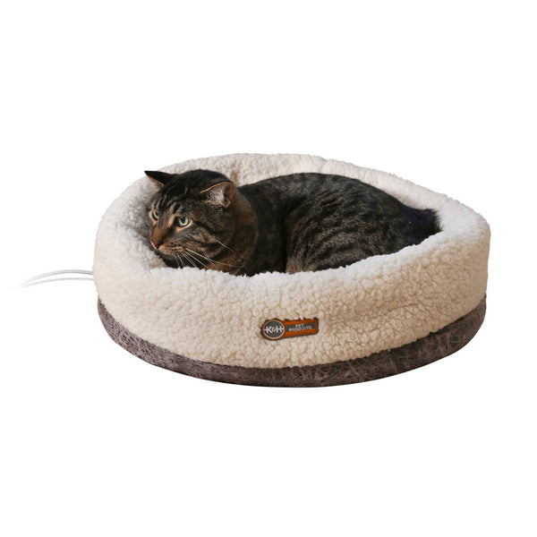 "K&H Pet Products Thermo-Snuggle Cup Pet Bed Bomber Gray 14"" x 18"" x 7""-Cat-K&H Pet Products-PetPhenom"