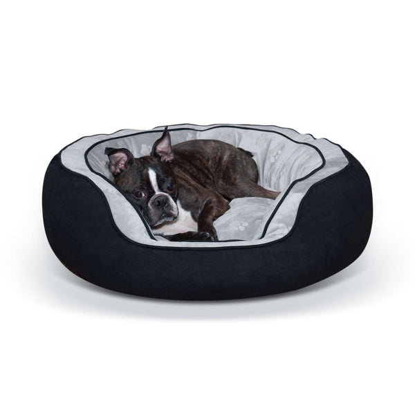 "K&H Pet Products Round n' Plush Bolster Dog Bed Medium Black/Gray 24"" x 30"" x 10""-Dog-K&H Pet Products-PetPhenom"