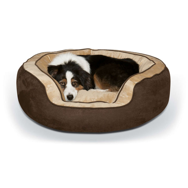 "K&H Pet Products Round n' Plush Bolster Dog Bed Large Chocolate/Tan 29"" x 35"" x 12""-Dog-K&H Pet Products-PetPhenom"