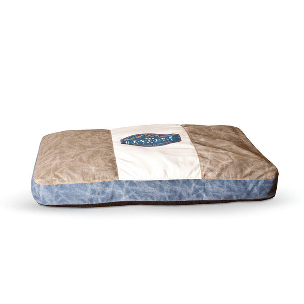 "K&H Pet Products Vintage Classic Pet Bed Genuine Logo Small Gray / Blue 28"" x 38"" x 4"""