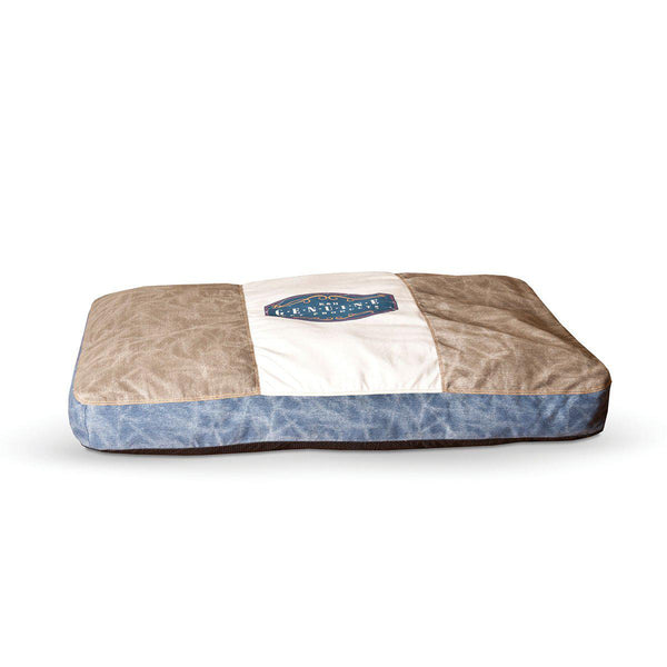 "K&H Pet Products Vintage Classic Pet Bed Genuine Logo Large Gray / Blue 32"" x 48"" x 4"""