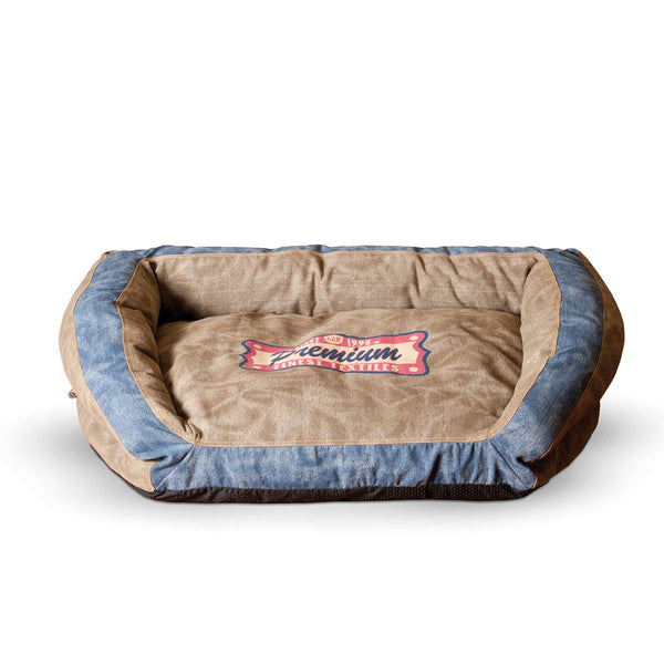 "K&H Pet Products Vintage Bolster Pet Bed Premium Logo Small Brown / Blue 21"" x 30"" x 7"""
