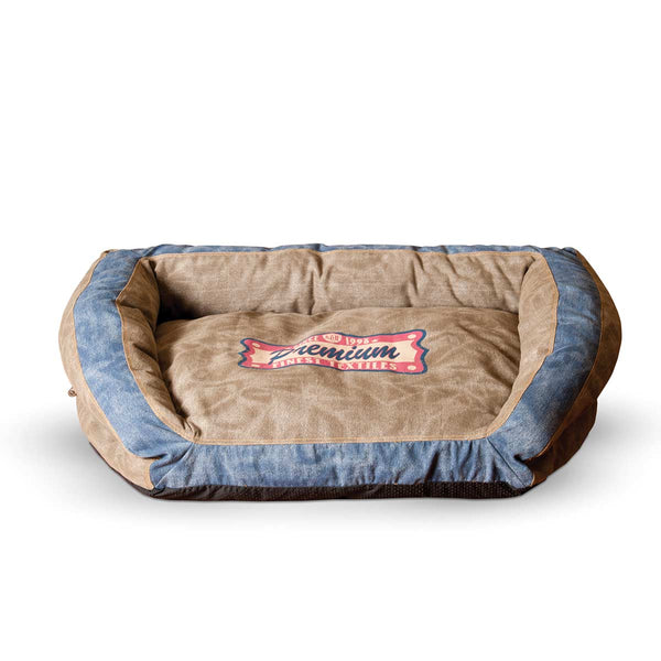 "K&H Pet Products Vintage Bolster Pet Bed Premium Logo Large Brown / Blue 28"" x 40"" x 9"""