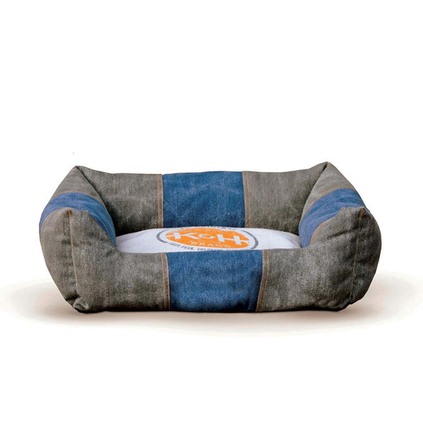 "K&H Pet Products Vintage Lounger Pet Bed Original Logo Gray / Blue 16"" x 20"" x 6"""