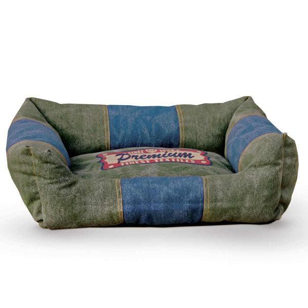 "K&H Pet Products Vintage Lounger Pet Bed Premium Logo Olive / Blue 16"" x 20"" x 6"""