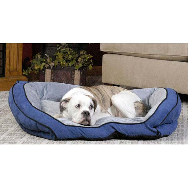 "K&H Pet Products Bolster Couch Pet Bed Small Blue / Gray 21"" x 30"" x 7""-Dog-K&H Pet Products-PetPhenom"