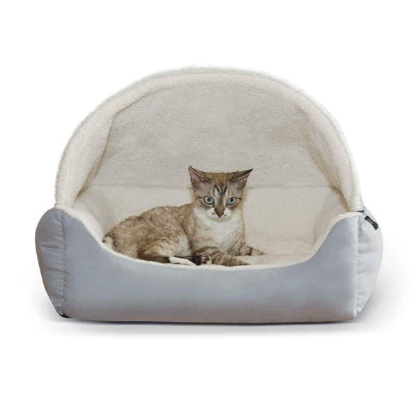 "K&H Pet Products Lounge Sleeper Hooded Pet Bed Gray 20"" x 25"" x 13""-Dog-K&H Pet Products-PetPhenom"