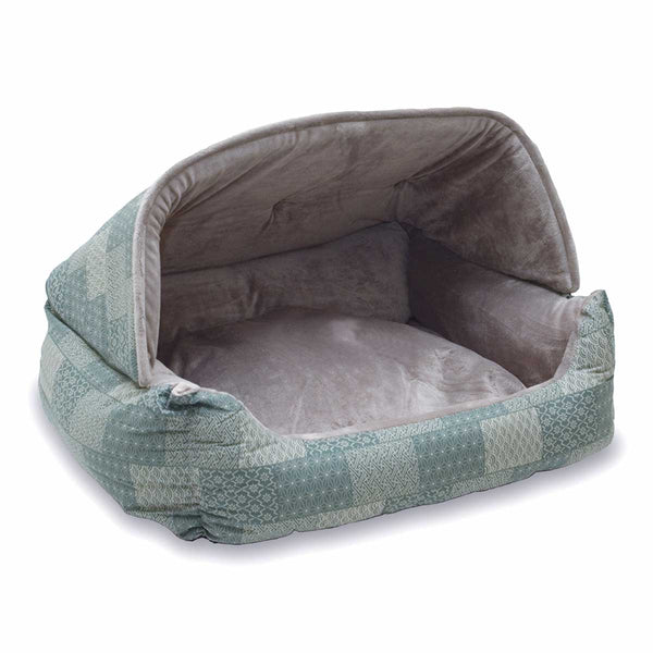 "K&H Pet Products Lounge Sleeper Hooded Pet Bed Teal 20"" x 25"" x 13""-Dog-K&H Pet Products-PetPhenom"