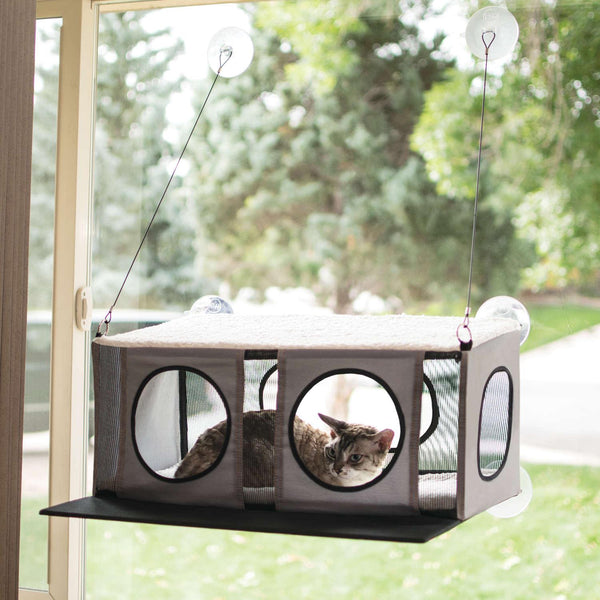 "K&H Pet Products EZ Mount Cat Penthouse Gray / Black 23"" x 19"" x 9.5""-Cat-K&H Pet Products-PetPhenom"