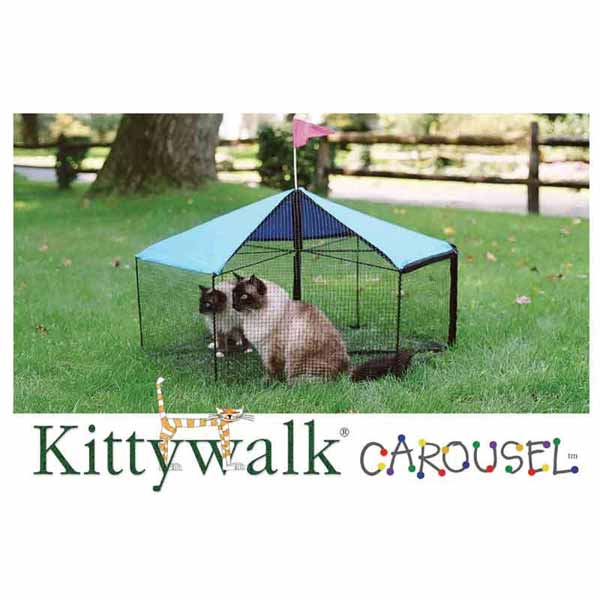 "Kittywalk Carousel Outdoor Cat Enclosure Green 48"" x 48"" x 24""-Cat-Kittywalk-PetPhenom"