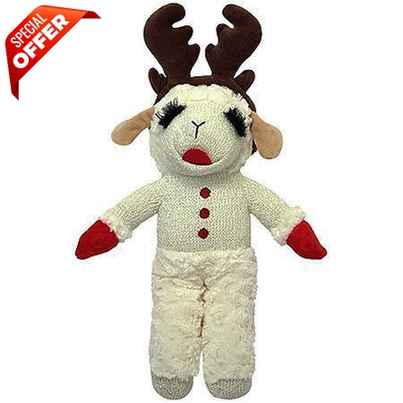 Multipet Holiday Lamb Chop Standing with Antlers, 13 Inch-Dog-Petmate-PetPhenom