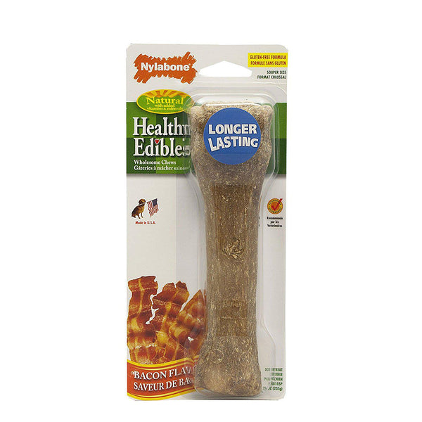 Nylabone Healthy Edible Souper Bone Bacon Extra Large Brown-Dog-Nylabone-PetPhenom